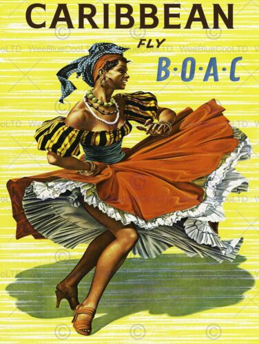TRAVEL BOAC AIRLINE CARIBBEAN FLAMENCO DANCER USA VINTAGE ADVERT POSTER 2317PY