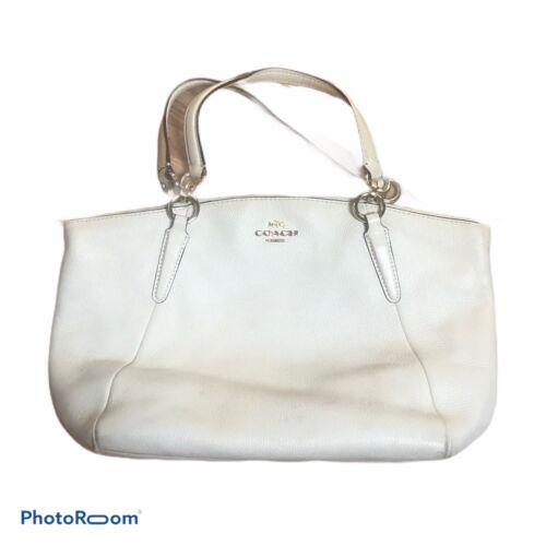 Vintage COACH White Leather Medium Handbag Purse