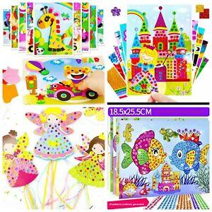 Kinder-Bastelset-Kreativ-Glitzersteinen-fuer-Kinder-10-Stueck-Aufkleber-Mosaik