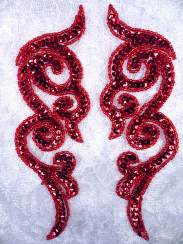 """JB233 Applique Motif Sequin Red MIRROR PAIR Scroll Clothing Fabric Patch 7/"""""""