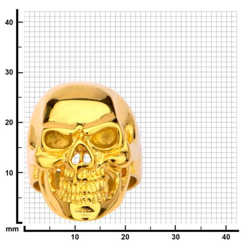 Inox Jewelry 316L Stainless Steel Gold Color Ion Plate Front Face Skull Ring New