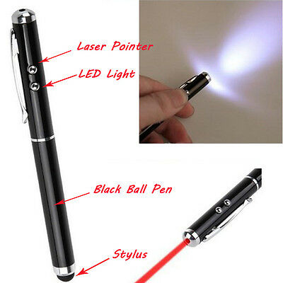 Black 4-in-1 LED Light Stylus Pen Laser Pointer for Capacitive Touch iPad