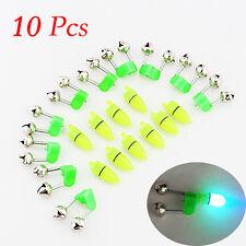 10PCS LED Night Fishing Rod Bite Bait Alarm Light Twin Bells Clip Alerter NEW FS