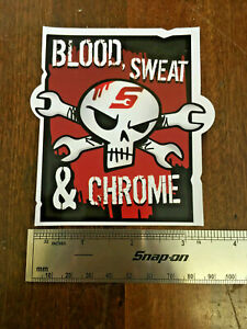 Details about Snap-On Tools Tool Box Sticker Blood Sweat Chrome Decal  Genuine 3 5in Width