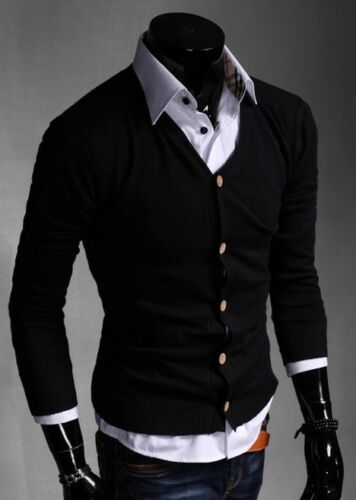 New Men/'s Fashion Joker Solide Tricoter Cardigan Casual Manches Longues Pull