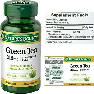 Nature's Bounty Green Tea Extract Capsules 315mg 100 Count, with EGCG