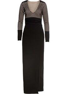 Abendkleid Gr. 48/50 Schwarz Maxi-Kleid Langarm Eventkleid ...