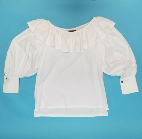 1980s Vtg Jan Barboglio White Cotton Ruffle Peasan