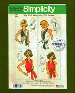 Jiffy-Vintage-Wrap-amp-Tie-Halter-Top-Sewing-Pattern-One-Size-Simplicity-5555