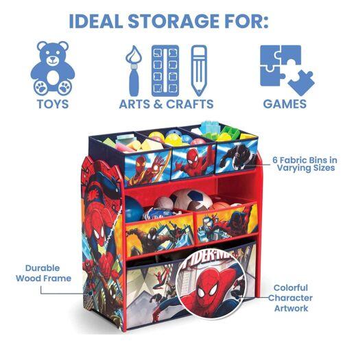 Spiderman Toy Box 6 Bins Storage Kids Furniture Organizer Spidey Spider Man Book