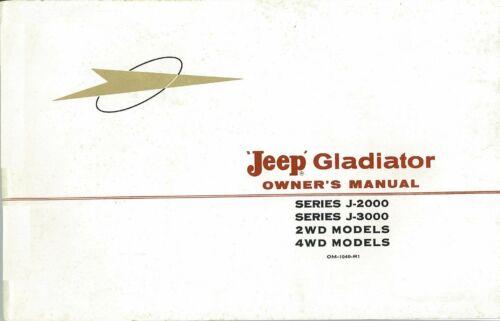 OEM Maintenance Owner/'s Manual Bound for Jeep Gladiator 1962-1964