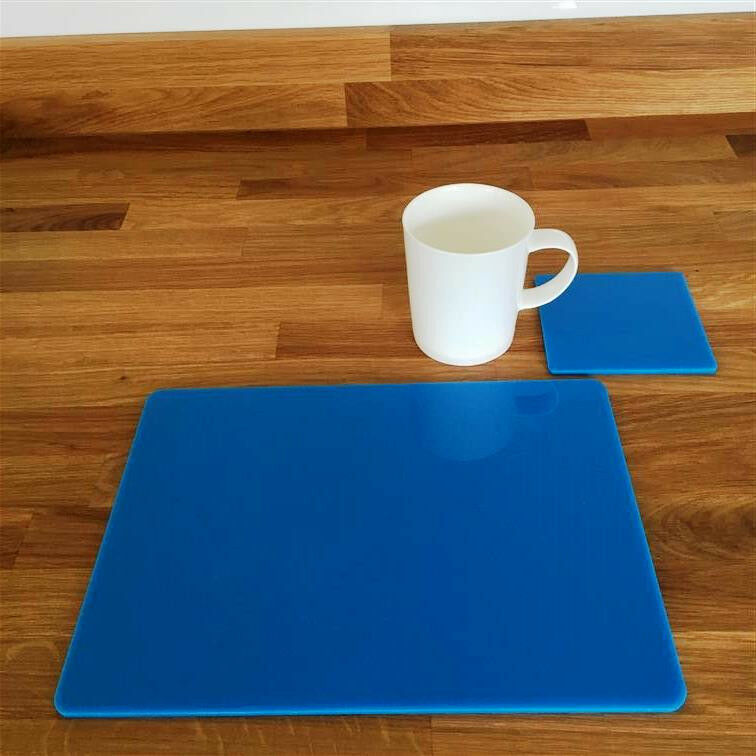 Rectangular Placemat and Square Coaster Set - Bright bluee