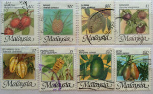 Malaysia Used Stamp - 8 pcs 1986 Fruits Definitive Stamps