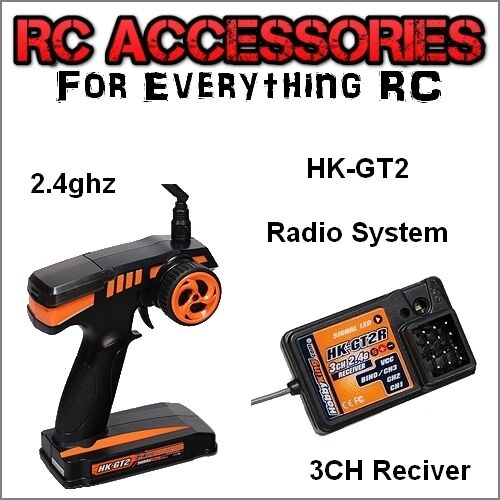 2.4GHZ Transmitter & Receiver TX RX Combo Pistol Grip Radio System 2CH Futaba