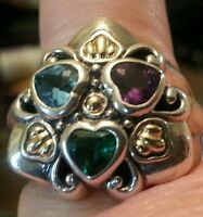 Unique Samuel Benham Sterling Silver18kt Gold & 3 Gemstone Ring. Size 7