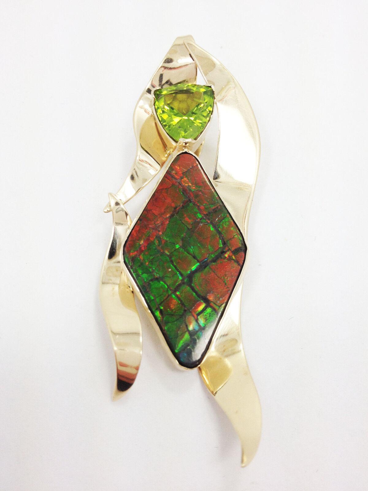 Gorgeous 14kt Wayne B. Light Ammolite and Peridot Pendant