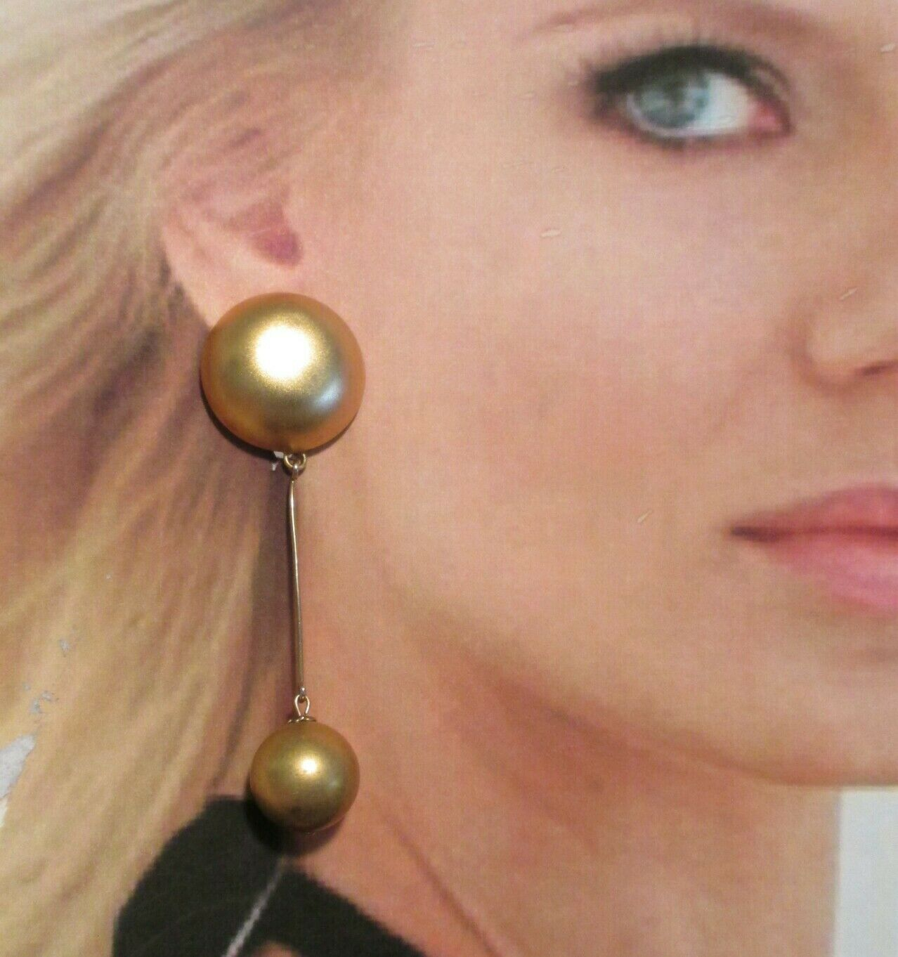 Vintage 80s Ellen designs ball earrings long chunky Runway gold tone clip on