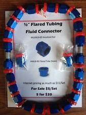 """1/2"""" Diameter Blue Anodized Fuel Line Connectors"""