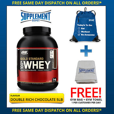 Optimum Nutrition Gold Standard 100% Whey - 5Lb / 5Lbs - Double Rich Chocolate