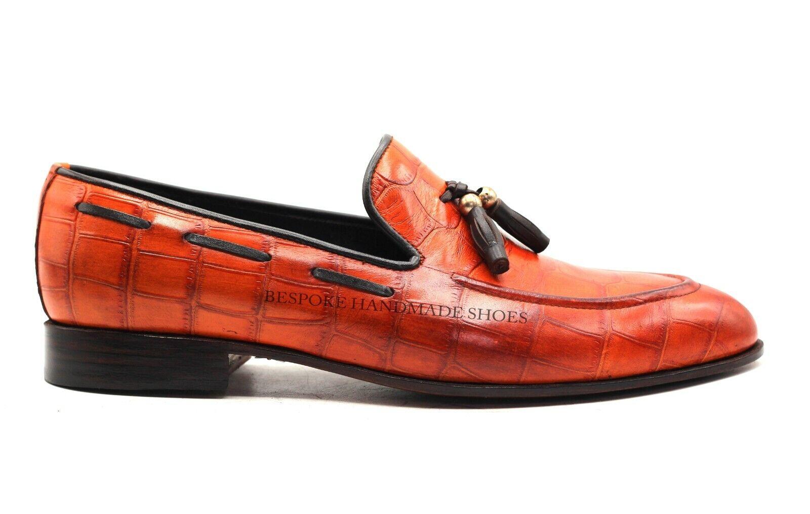 Handgemachte Herren echte Tan Kalbsleder Krokodildruck Slip Ons Schuhe