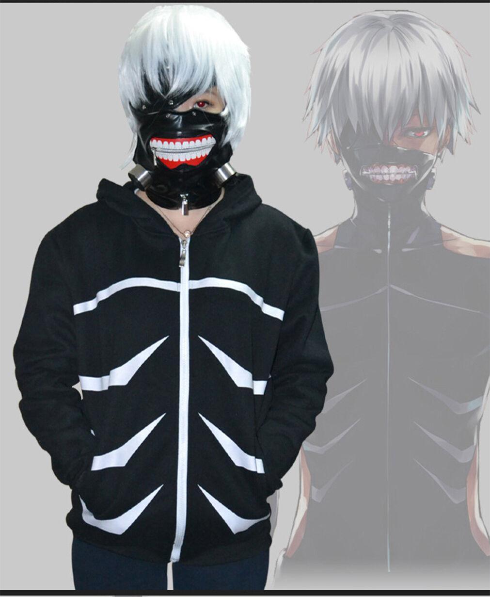 Details about anime tokyo ghoul kaneki ken hoodie costume cosplay jacket hoodie coat black new