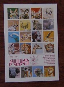 South-West-Africa-1980-Wildlife-set-to-R2-on-new-issue-cards-Fine-Used