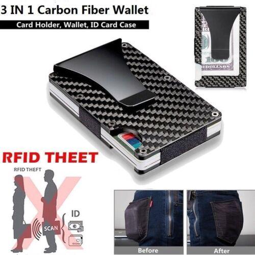 Mens Slim Carbon Fiber Credit Card Holder RFID Blocking Metal Wallet Money Clip