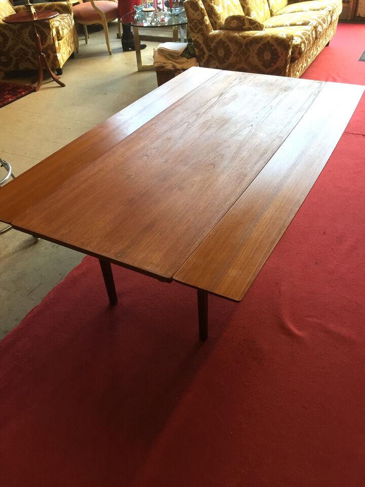 Dansk design teak sofabord med udtræk