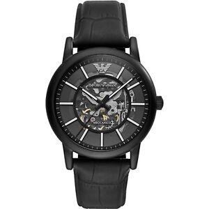 Emporio-Armani-Meccanico-Automatic-Skeletal-Black-Leather-Men-039-s-Watch-AR60008