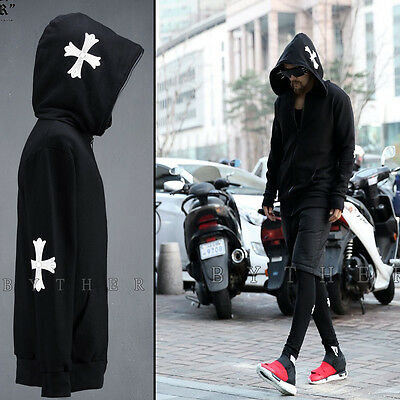 ByTheR Made White Cross Print Detail Full Zipper Loose Fit Casual Hoodie Jacket