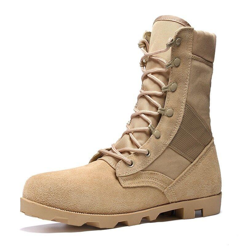 Transpirables Zapatos para hombre trabajo al aire libre alta Top Mitad de Pantorrilla botas De Combate botas Con Cordones