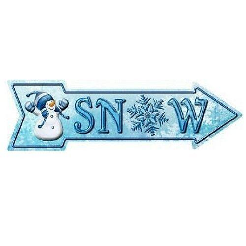 """Outdoor//Indoor Christmas /""""SNOW/"""" Novelty Metal Arrow Sign 5/"""" x 17/"""""""