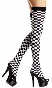 Tablero-de-ajedrez-al-Muslo-Medias-Carreras-Bandera-Alice-in-wonderland-Disfraz