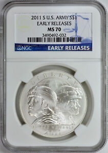 2012-W INFANTRY SILVER DOLLAR S$1 NGC MS70 EARLY RELEASES