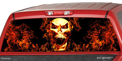Burning Flaming Dices Flame B//W  Rear Window Graphic Decal Truck SUV Van Car