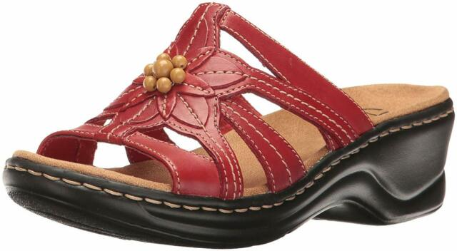 CLARKS Womens LEXI MYRTLE Leather Open Toe Casual Slide, Red Leather, Size 7.0