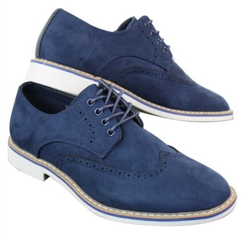 Mens Smart Casual Suede Nubuck Leather Brogues Laced Gatsby Shoes
