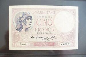 Superbe Billet 5 Frs Violet 28/9/1939 Sup+ / Collection Du Xx ° Siècle !! Pour Revigorer Efficacement La Santé