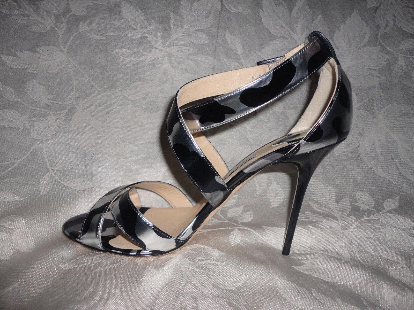 Jimmy Choo LOTTIE LOTTIE LOTTIE crisscross strappy high heel sandal 40 10 noir argent leopard 9421e0