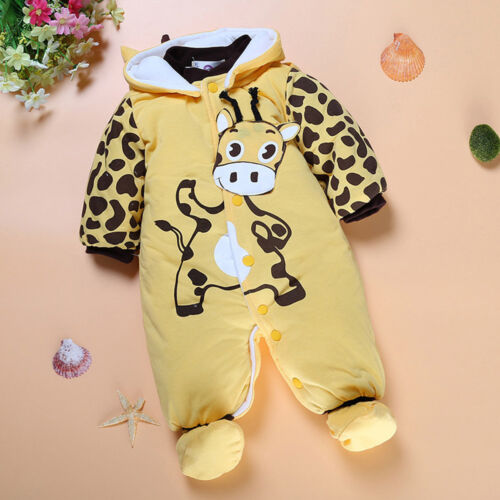 Newborn Toddler Baby Boys Girl Cartoon Hooded Thick Romper Jumpsuit Warm Outfits