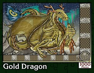 Gold-Dragon-1000-Piece-Fantasy-Jigsaw-Puzzle-New-Sealed-in-Numbered-Box