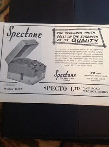 M42 Ephemera 1957 Advert Specto Tape Recorder Ltd Spectone Windsor - Leicester, United Kingdom - Returns accepted Most purchases from business sellers are protected by the Consumer Contract Regulations 2013 which give you the right to cancel the purchase within 14 days after the day you receive the item. Find out more abou - Leicester, United Kingdom