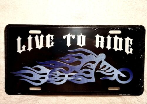 "/""Live To Ride/""  Metal Car Truck Auto License Plate Tag"