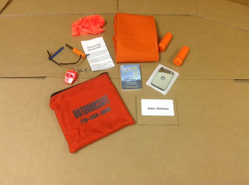 Outdoorsafe Survival Kit New With Carry  Bag Signal Mirror Whistle Match Case  we take customers as our god