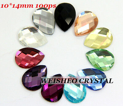 10x14mm Teardrop Rhinestones Flat back Glitter Crystals Glass Nail Art 100ps