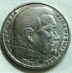 """5,- Reichsmark 1935 A Silber """"Paul von Hindenburg""""  Rs. Adler  st / unz"""