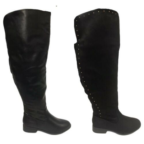 Womens Long Boots Super Curvy Wide Fit Knee High Long Boots Black Size