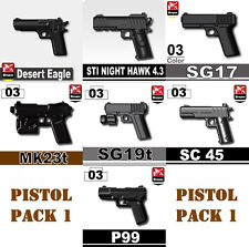 Pistol Pack V1 Army Weapons (P6) compatible with toy brick minifigures