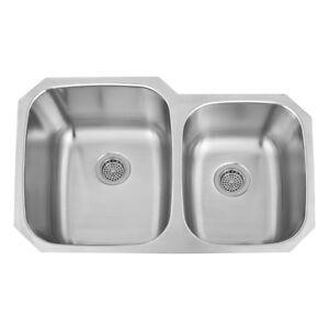 32 inch Double Bowl 60/40 UnderMount Stainless Steel Kitchen Sink ...