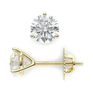 2-ct-Round-Cut-Solitaire-Stud-Earrings-3-prong-14k-Real-Yellow-Gold-Screw-Back